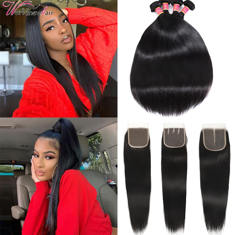 WorldNewHair 4pcs Human Hair Str1aight Bundles With 4x4 Straight Lace Frontal Closure