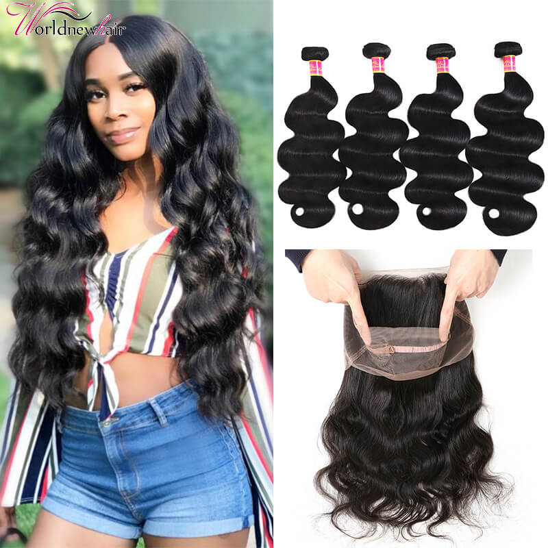 Pre-plucked 360 Body Wave Lace Frontal Closure With Human Virgin Body Wave Hair 4 Bundles Weave