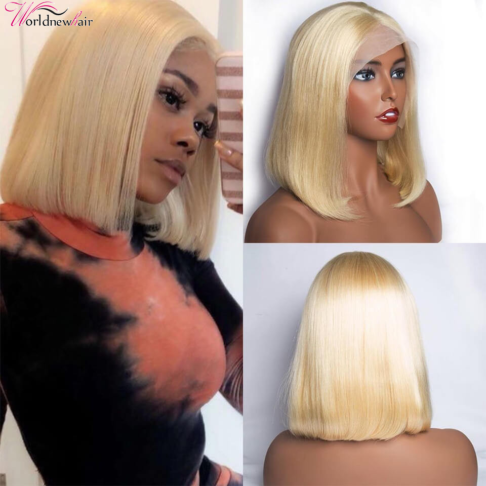 613 Blonde Bob Wigs 13x4 Lace Front Human Hair Wig Silk Straight Pre Plucked With Baby Hair