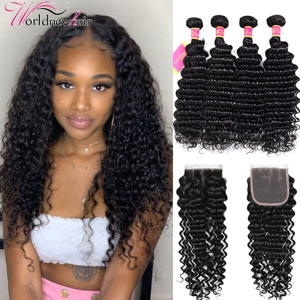 Cheap Deep Wave 4 Bundles With 4x4 Lace Closure Unprocessed Hair Sew In Sale Online