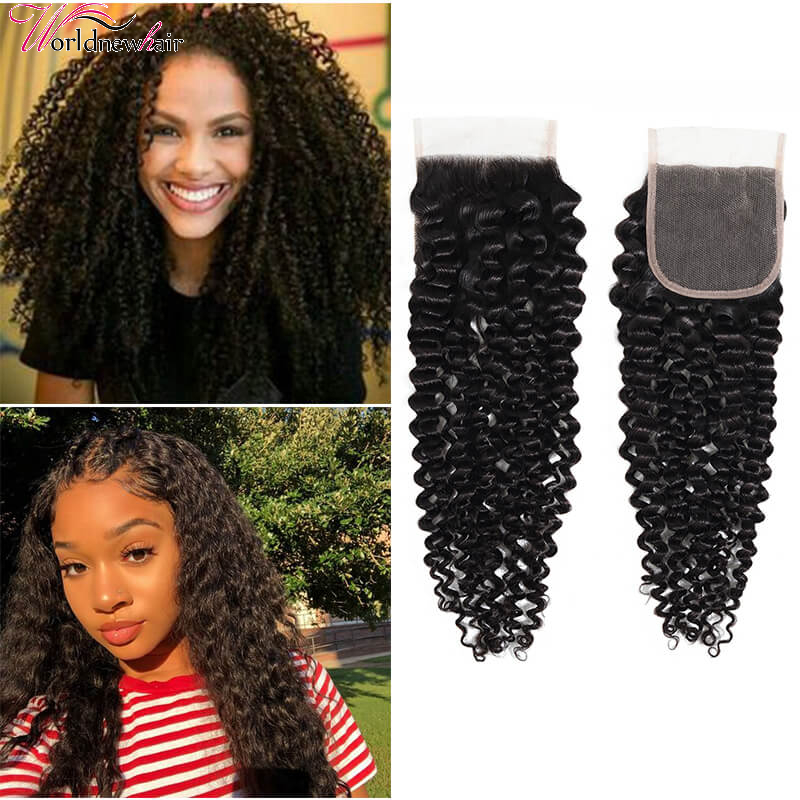 Kinky Curly Hair 4x4 Pre Plucked Lace Closure Sews In Virgin Human Hair Extensions