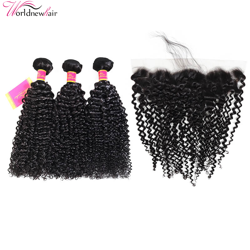 3 Bundles Remy Kinky Curly Human Hair Weave With 13X4 Pre Plucked Lace Frontal Closure