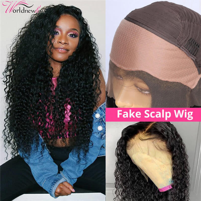 Kinky Curly Fake Scalp Top Lace Front Wig High Density Human Hair Wigs Pre Plucked