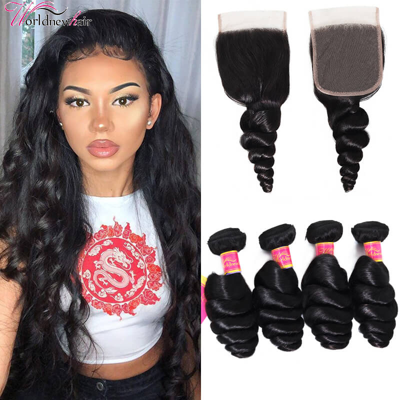 Pre-plucked 4x4 Loose Wave Closure Free Part With 4Bundles Virgin Loose Hair Weave Weft