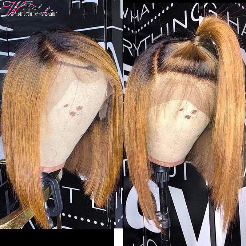 Ombre 4/27 Bob Wigs Short Straight Lace Front Wigs With Baby