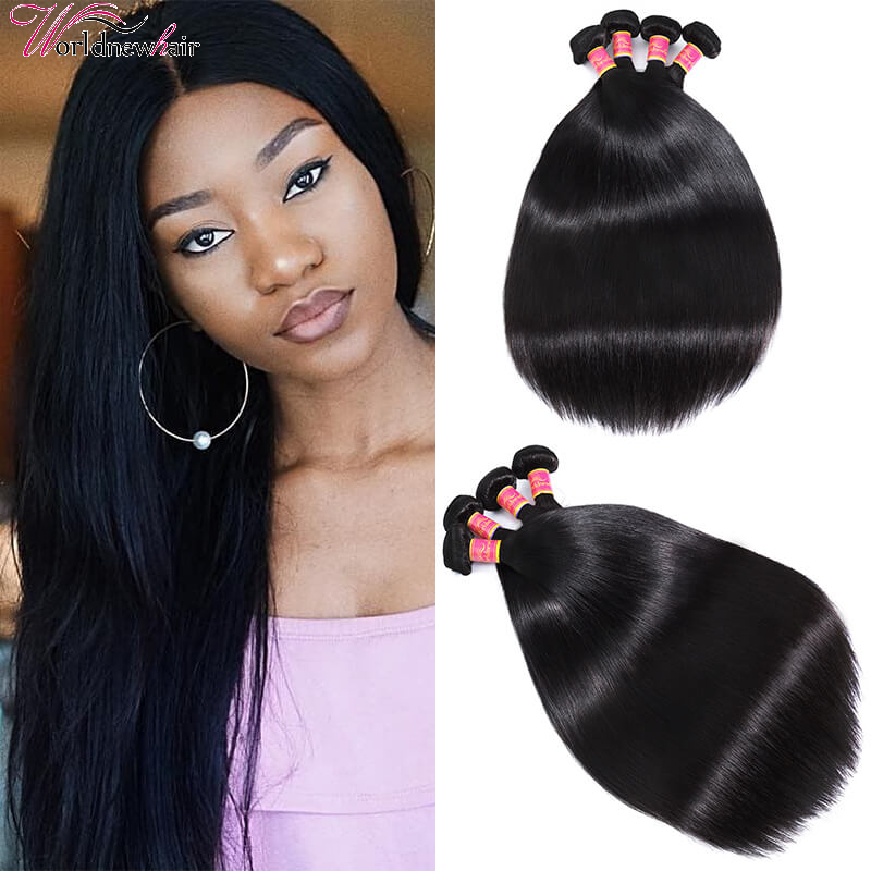 WorldNewHair 4Bundles Peruvian Virgin Straight Hair Weave Sew In