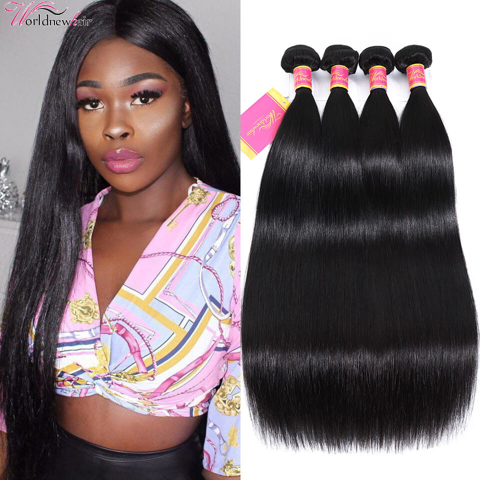 WorldNewHair Soft Virgin Brazilian Straight Hair Weave 4 Bundles Deal