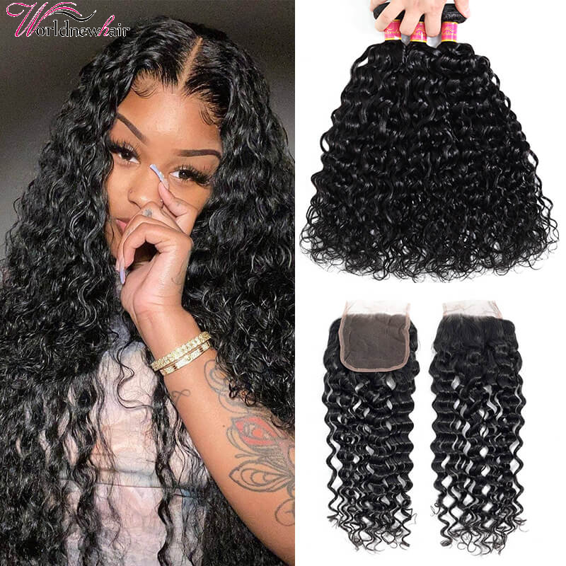 water wave hair bundles with lace closure,human hair bundles with closure