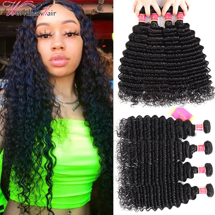 Brazilian Human Hair Bundles 4 pcs/pack Deep Wave Virgin Hair Weft Natural Color
