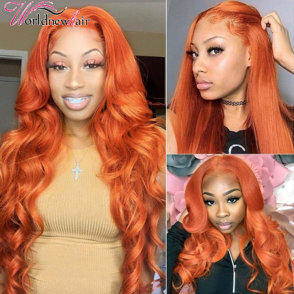 Ginger Orange Color Lace Part Wigs Body Wave Wig Straight Hair Wigs For Sale