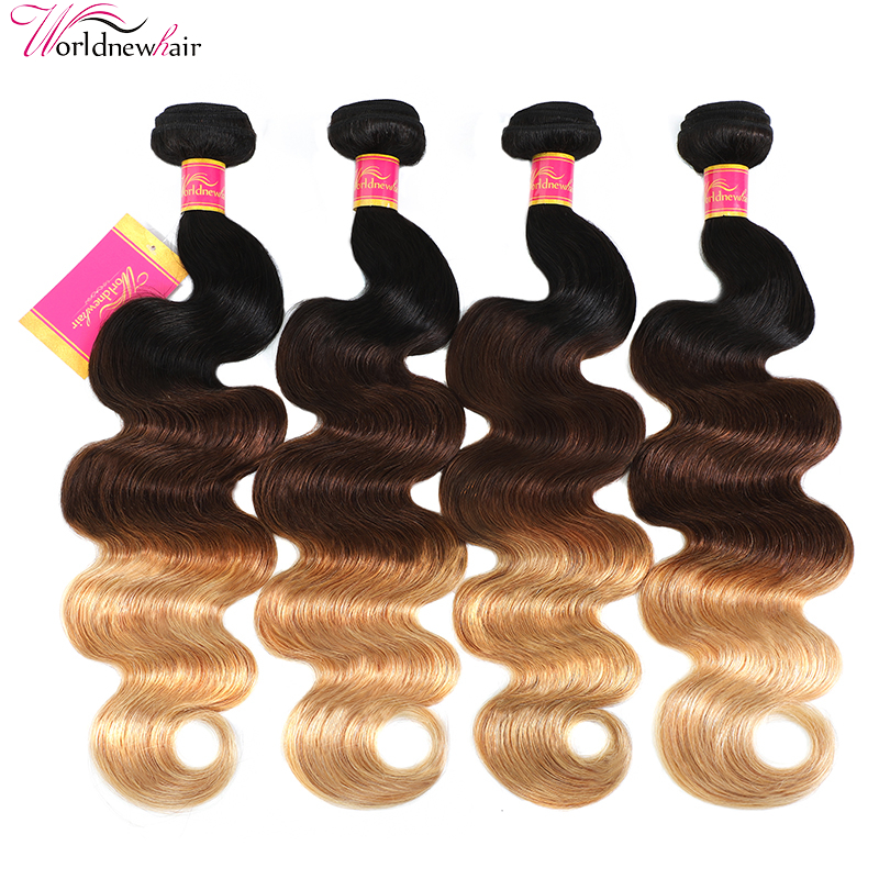 4 Bundles Ombre Hair Weave Body Wave 3 Tone Color Ombre  Human Hair Extensions