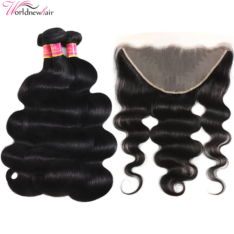 WorldNewHair 3 Bundles Body Wave Hair With 13x6 Lace Frontal Hair Closure