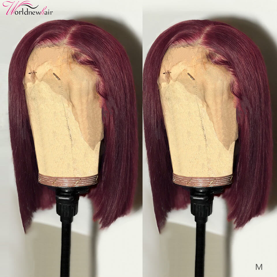 Burgundy Straight Bob Wig Short Staright Lace Front Wig 99J Color Human Hair Wig Pre Plucked