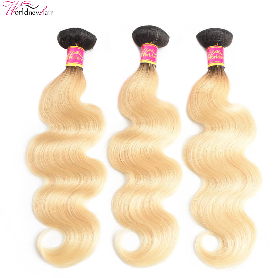 WorldNewHair Body Wave Ombre Color 1B/613 Blonde Hair 3 Bundles/Pack 12-24 Inches
