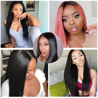 100% Virgin Human Hair Straight 4 Bundles With Pre Plucked 13x6 Lace Frontal Closure