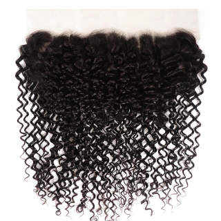 7A Grade Curly Hair 13x6 Frontal Lace Closure with Baby Hair Virgin Human Hair 150% Density