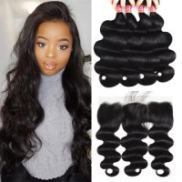 Cheap Body Wave Hair 4 Bundles With Pre-Plucked 13X4 Lace Frontal Closure With Baby Hair Deal