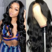 Body Wave Lace Wig 100% Human Hair Wigs T Part Wigs Natural Black Color
