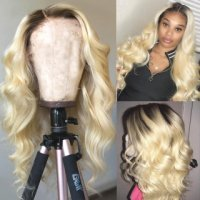 Ombre 1B613 Blonde Color Body Wave Lace Front Wig Pre Plucked Natural Hairline