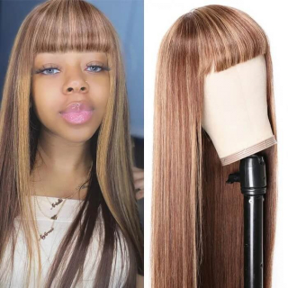 Honey Blonde Hightlight Wigs Straight Ombre Colored Human Hair Wig With Bangs