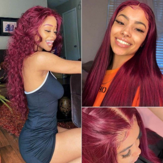 New 99J HD Lace Part Wig Afordable 13x4x1 100% Human Hair Burgundy Colored Wigs