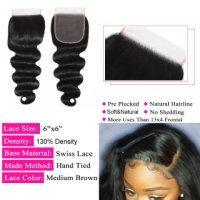 Body Wave 6x6 Lace Closure Human Hair Lace With Pre-plucked Hair Closure
