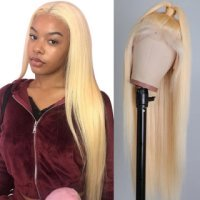 #613 Blonde Color Full Lace Wigs Silky Straight Human Hair Blonde Color Full Lace Wig
