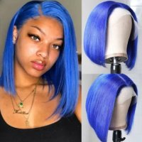 Straight Short Bob Wig 13×4 Lace Front Wig Blue Color Human Hair Wig 150% Density