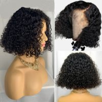 Short Curly Bob Wig Lace Front Human Hair Wigs Pre Plucked For Sale