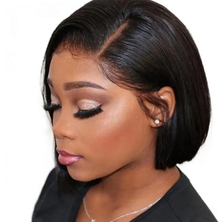 Straight 4x4 Lace Closure Wig Natural Black Human Hair Bob Wig For Sale Affordable Short Lace Wig