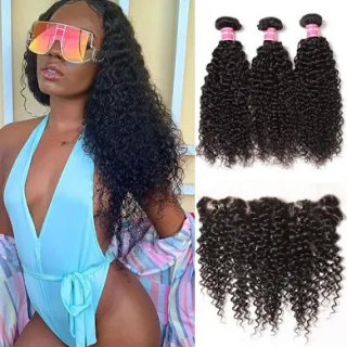 Ear To Ear Lace Frontal Closure With 4 PCS Hair Weave Bundles