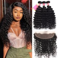 100% Human Hair Deep Wave 3 Bundles With Ear To Ear Frontal Closure With Baby Hair