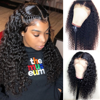 100% High Quality Virgin Human Hair Deep Wave Full Lace Wig Pre Plucked Natural Hairline Natural Black