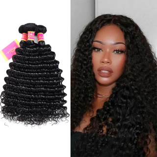 Peruvian Virgin Deep Wave Hair Weave Bundles