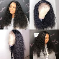 Deep Curly Full Lace Human Hair Wigs Natural Color Virgin Hair Free Part 180% Density Lace Wigs With Baby Hair