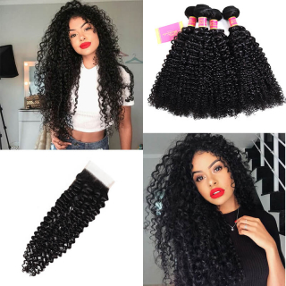 Kinky Curly Hair Weave 4 Bundles With 4x4 Lace Closure