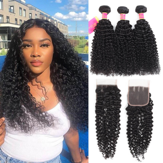 Kinky Curly Hair Weave 3 Bundles With 4x4 Lace Closure Top Remy Human Hair Weave Weft