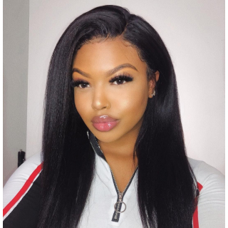 Kinky Straight Lace Front Transparent Human Hair Wig Pre Plucked Yaki Straight Lace Front Wigs For Sale