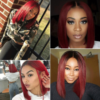Burgundy Red Bob Lace Front Wigs T1B/99J Natural Straight Human Hair Bob Wigs