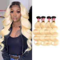 Virgin Brazilian Blonde Ombre 1B/613 4 Bundles Body Wave Human Hair