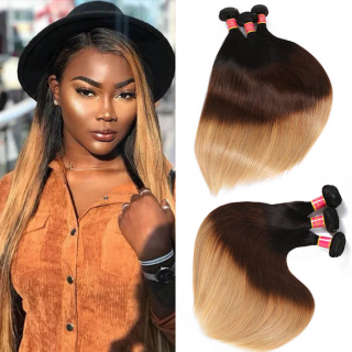 WorldNewHair Three Tone Brazilian Ombre Straight Virgin Hair Weave 4 Bundles