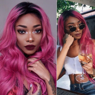 Ombre Pink Human Hair Wig 1b/Pink Lace Front Wig Body Wave Wig Straight Hot Pink Wigs