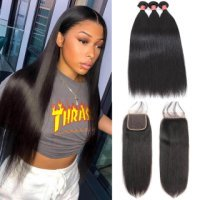 WorldNewHair 4pcs Human Hair Straight Bundles With 4x4 Straight Lace Frontal Closure