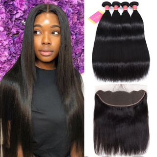 Straight Human Hair 4 Bundles And 13*4 Lace Frntal Bundle Deals With Frontal