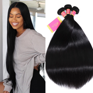 Unprocessed Silk Straight Hair Weave Virgin Straight Hair 3 Bundles