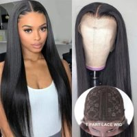 100% Human Hair Wig Lace Wig With Baby Hair Long Straight Human Hair WigNatural Color