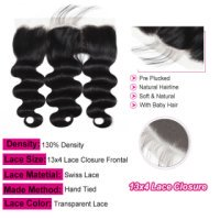 """Transparent Body Wave 13x4""""Lace Frontal Closure With Natural Hairline"""