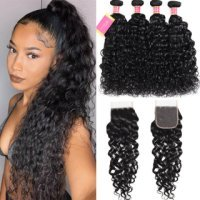 100% Virgin Human Hair Water Wave 4 Bundles With 4x4 Lace Closure Deals