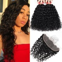WorldNewHair 4pcs Water Wave Human Virgin Hair With Lace Frontal Closure