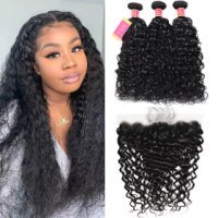 Hot Selling Water Wave 13x4 Lace Frontal Closure With Virgin Water Wave Weave 3 Bundles